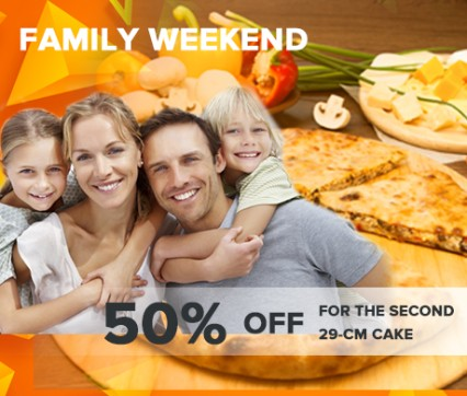 Family weekend -50% discount on the second pie with a diameter of 29 cm.